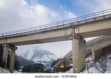 Austria, Viaduct in the Alpine mountains