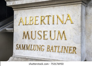 Austria, Vienna, 08. 10.2017. Albertina Museum golden logotype. Located in Duke Alberth palace this exhibition space has one of the most important contemporary art collections.