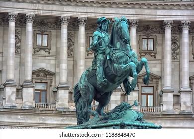 Austria, Vienna, 30,12,2017  Monument of the Prinz Eugen (der edle Ritter) on Heldenplatz in Hofburg, Vienna, Austria.