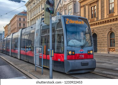 Austria, Vienna 30,12,2017 Tram on a city street