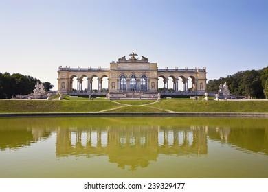 AUSTRIA, VIENNA - AUGUST 14, 2012: The colonnade Gloriette in front of the Schoenbrunn Palace , Vienna, Austria
