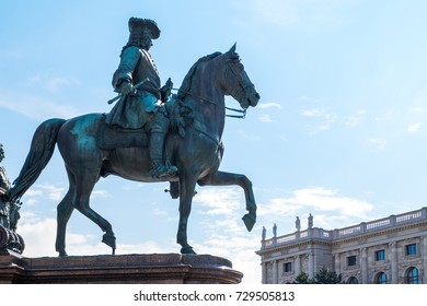 Austria, Vienna, a courtier on horseback in the basement of the Empress Maria Theresia Monument