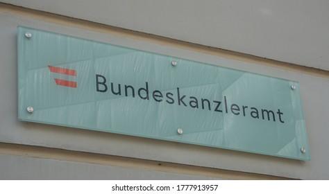 AUSTRIA/ VIENNA JUNE 23, 2020: sign of bundeskanzleramt at the bundeskanzleramt building at Ballhausplatz in Vienna