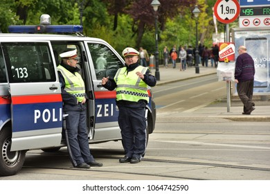 Austria Vienna. May 01, 2017. Police on the street of the city of Vienna.