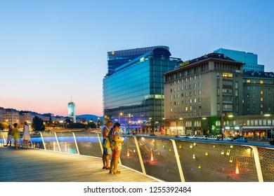 'Austria, Vienna, May, 11-2018, Danube canal in Vienna'