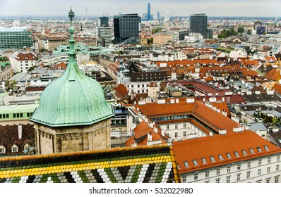 Austria. Vienna. Top view of the city and St. Stephen's Cathedral. Vienna - the biggest cultural and historical center of Europe, entered in the UNESCO World Heritage List.