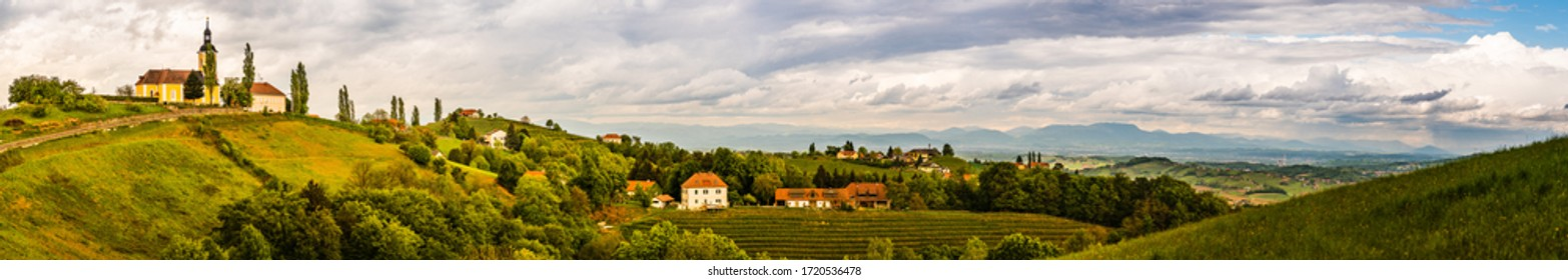 Austria vineyards landscape. View at panorama of small village Kitzeck. Leibnitz area in south Styria, wine country.
