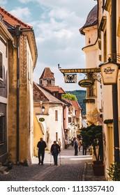 Austria, Wachau, Durnstein 11.04.2014 : Durnstein, Wachau, Austria. Narrow streets of Town Tourist town