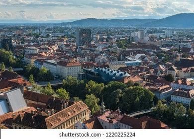 Austria.Graz September 2018. Panoramic view of the city and the Kunsthaus Graz-art Museum