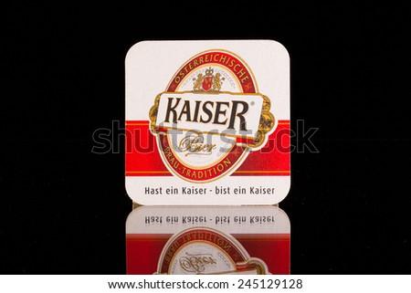 Austrialinz July 72014 Beermat Kaiser Beer Most Stock Photo Edit