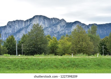 Austrian Alps around Attersee lake on cloudy day in late summer.