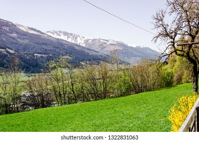 Austrian Alps in Niedernsill, mountains and green grass and bushes field landscape, spring scenery, beautiful mountain landscape