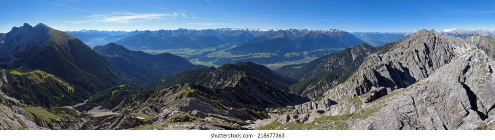 Austrian Alps, Tyrol, view from the Karwendel mountains over the Inn valley