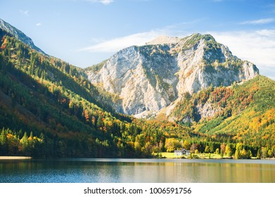 Austrian Alps. Vorderer Langbathsee lake and mountains