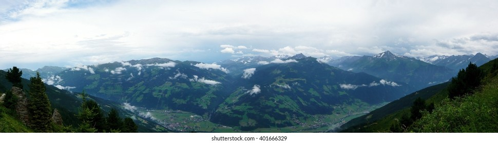 Austrian Alps-panoramic outlook on Alps from Zillertaler road