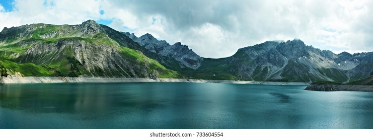 Austrian Alps-panoramic view of the lake Lunersee and mountains Ratikon