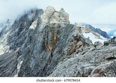 Austrian Alps-panoramic view on the footbridge and observation deck on the Dachstein
