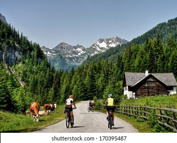 Austrian Alps-unidentified cyclists in the valley Riedingtal