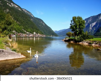 Austrian Alps-view of the city Hallstatt and lake Hallstattersee