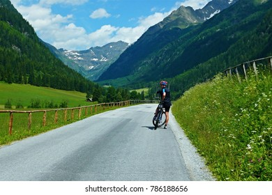 Austrian Alps-view of the cyclist in valley Goriachtal