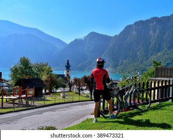 Austrian Alps-view of the lake Attersee