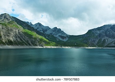 Austrian Alps-view of the lake Lunersee and mountains Ratikon