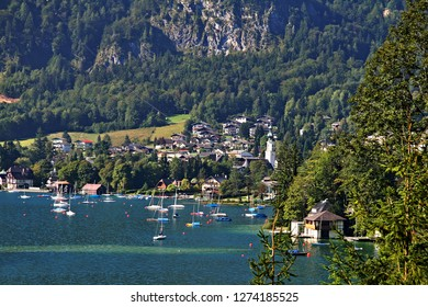 Austrian Alps-view of the lake Wolfgangsee and town St.Gilgen