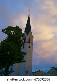 austrian church with dramatic sky appearance