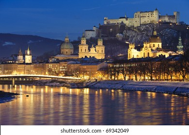 austrian city Salzburg at christmas night
