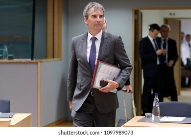 Austrian Finance Minister Hartwig Loeger attends an Eurogroup finance ministers meeting at the European Council in Brussels, Belgium on  May 24, 2018.
