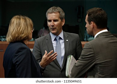 Austrian Finance Minister Hartwig Loeger  attends in Eurogroup finance ministers meeting at the EU headquarters in Brussels, Belgium on Jul. 12, 2018