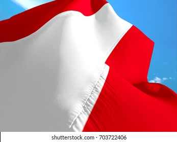 Austrian flag. 3D Waving flag design. Red and white flag. The national symbol of Austria. Austrian National colors. National sign of Austria for a background flag on smooth silk.