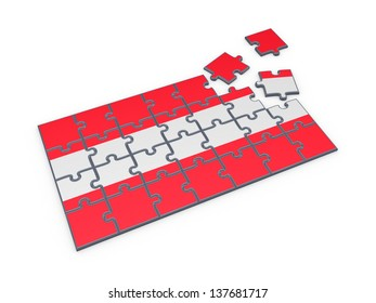 Austrian Flag made of puzzles.Isolated on white.3d rendered.