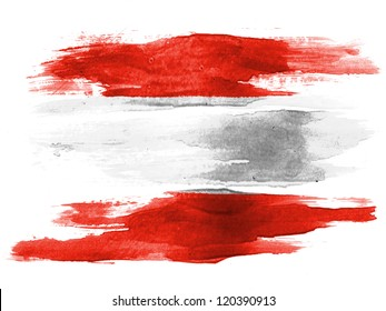 The Austrian flag painted on white paper with watercolor