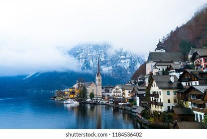 Austrian Hallstatt town scenery