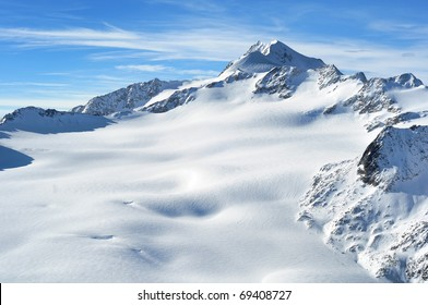 Austrian highest mountain Wildspitze 3776m. Scenic view of Austrian Alps