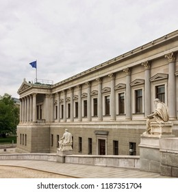 Austrian parliament building, Austrian Parliament, cloudy weather, sculptures, work of architectural art, authorities