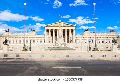 The Austrian Parliament Building in Vienna, Austria. Austrian Parliament building is located on Ringstrasse in Innere Stadt, near Hofburg Palace, Wien. - Shutterstock ID 1850377939