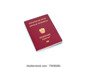 austrian passport isolated on white background