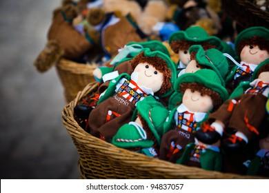 Austrian souvenirs. Toys in national austrian clothes