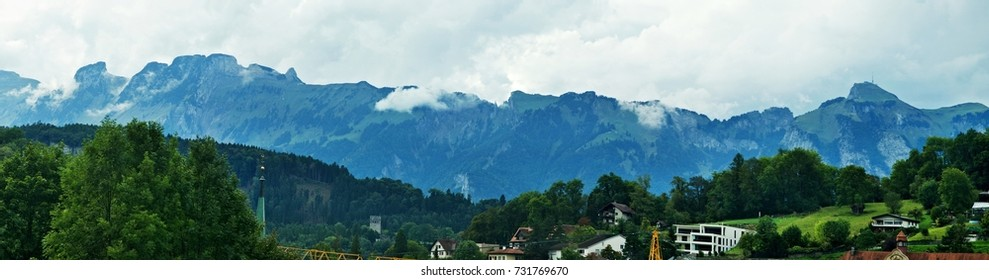 Austria-panoramic views of the Alps from Schattenburg Castle in Feldkirch