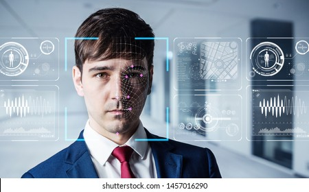 Authenitication by facial recognition concept. Biometrics. Security system.