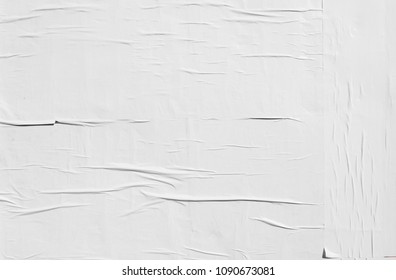 authentic basic natural wrinkly white empty poster texture
