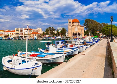 Authentic beautiful Greek islands -Aegina with traditional fishi