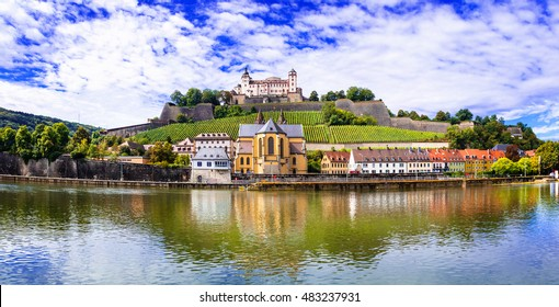 Authentic beautiful towns of Germany - Wurzburg, view with vineyrds and castle