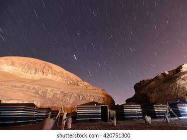 Authentic Bedouin Camp inside the Wadi Rum protected area, Jordan