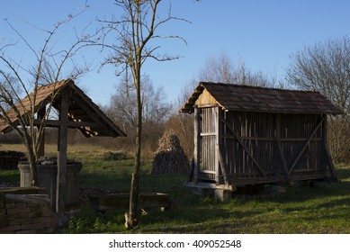 Authentic building for corn drying in Busevec, Croatia