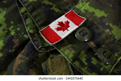 Authentic CADPAT Camouflage Gear with Canadian Armed Forces Uniform Flag.