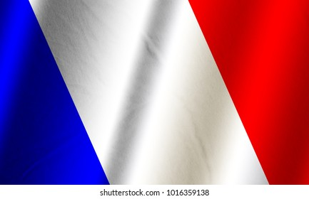 Authentic colorful textile flag of France