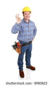 Authentic construction worker giving the okay sign with his fingers.  Full body isolated on white.